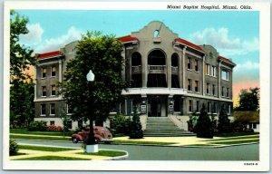 Miami, Oklahoma Postcard Miami Baptist Hospital Street View Linen 1940s Unused