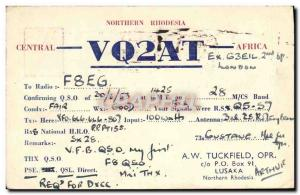 Postcard Old Telegraphie VQ2AT Norther Rhodesia