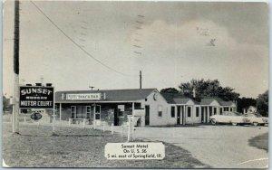 Springfield, Illinois Postcard SUNSET MOTEL Highway 36 Roadside / 1956 Cancel