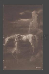 093666 NUDE Woman LONG HAIR w/ White HORSE Fairy Vintage PHOTO