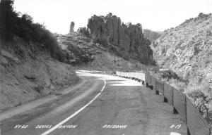 Arizona~Highway 60-Devils Canyon~Bend in Road Ahead~1940s RPPC