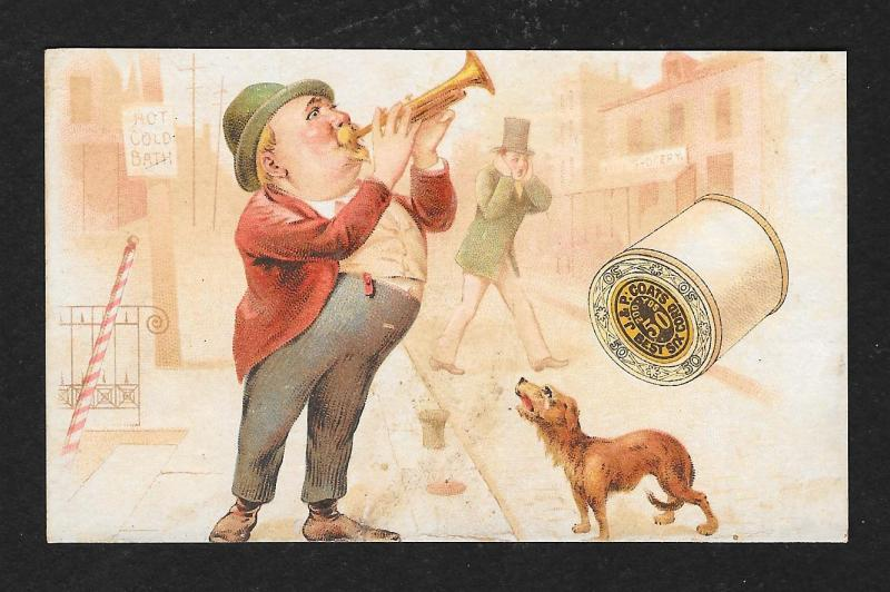 VICTORIAN TRADE CARD Coats' Thread Man Trumpet 1890 Calender