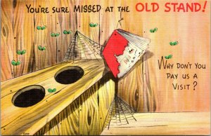 1940'S Linen Comic Color Postcard-You're Sure Missed at the Old Stand - PC
