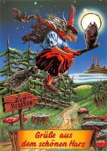 Gruesse aus dem schoenen Harz Witch on Broom Grafik Schoening Verlag Zum Brocken
