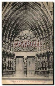 Old Postcard Cathedral of Reims Central Part of the great Portal