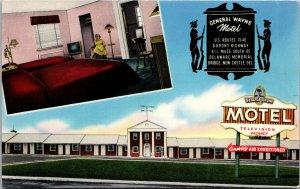 Vtg 1950s General Wayne Motel New Castle Delaware DE Unused Chrome Postcard