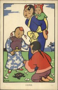 Art Deco KIND - Natives Around World Costumes CHINA c1930s Postcard