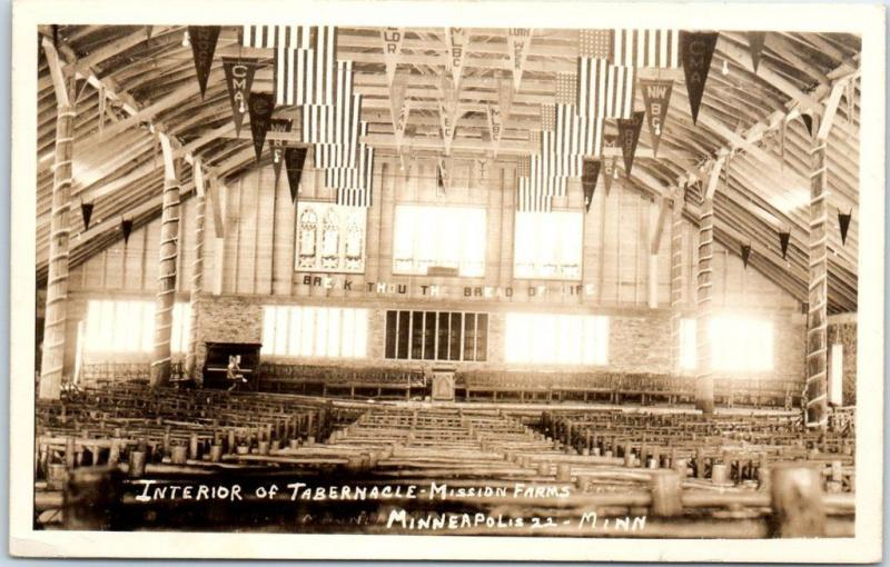 Minneapolis MN RPPC Photo Postcard Interior of Tabernacle - Mission Farms 1956