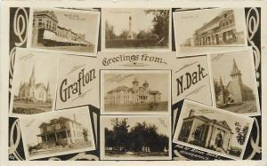 Grafton ND Feeble-Minded Home~Hill & Main St~Library~Churches~Hospital RPPC 1913