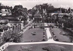 Austria Salzburg Mirabellgarten mit Dom und Festung Real Photo