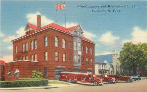 Fredonia New York~Fire Company, Hook & Ladder~Methodist Church~1940s PC