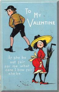 VALENTINE'S DAY Love Holiday Postcard 1906 Walton NY Pretty Girl Large Hat 458