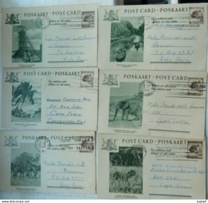 South Africa 1958 six used  Illustrated Stationery Postcards with slogans