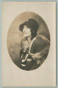 RPPC Lady w/Cloche Hat & Fur Scarf Shawl~White Trim Jacket~1920s Oval Portrait