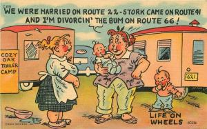 Artist impression Comic Humor Route 66 Travel Trailer Postcard Teich 5896