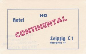 Germany Leipzig Ho Hotel Continental Vintage Luggage Label sk3857