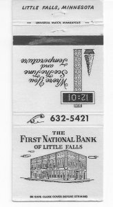 Matchbook Cover ! The First National Bank of Little Falls, Minnesota !
