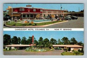 Columbus GA, Candlelight Motel, Fort Benning, Chrome Georgia c1957 Postcard