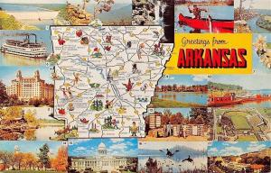 Arkansas~State Map Postcard~Razorback Stadium~River Boat~Duck Hunters~1960s PC