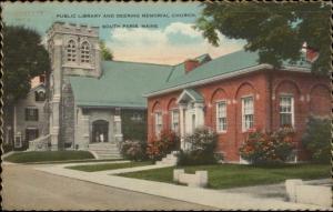 South Paris ME Library & Church Postcard
