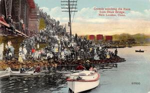 New London CT Big Crowd @ Bridge Watches Regatta~Boat Race~Telephone Pole c1910