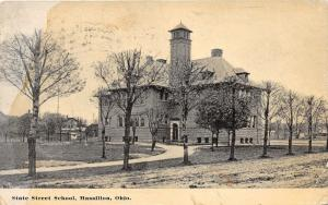 Massillon Ohio~State Street School~Bare Trees~Stark County~1912 Postcard