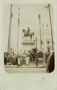 ottoman egypt, ALEXANDRIA, Muhammad-Ali Statue, Turkish Flags (1899) RPPC