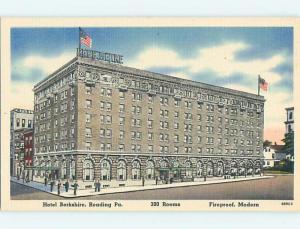 Unused Linen BERKSHIRE HOTEL Reading Pennsylvania PA Q6948