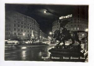 RP; Napoli, ITALY 40-60s Notturno - Piazza Giovanni Bovio , Lion Statue