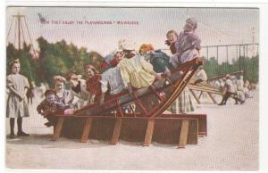 Childrens Ride Playground Milwaukee Wisconsin 1910 postcard