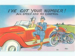 Linen Comic MOTORCYCLE POLICE MAN PULLS OVER WOMAN SPEEDING AC6955