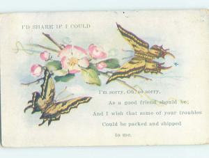 Pre-Linen BEAUTIFUL YELLOW BUTTERFLY GROUP WITH PINK FLOWERS HJ4677