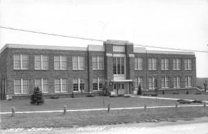Auburn Nebraska~High School Building~Low Fence Along Sidewalk~1946 RPPC