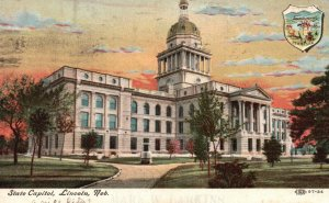 Lincoln, Nebraska, NE, State Capitol, 1908 Antique Vintage Postcard g8487