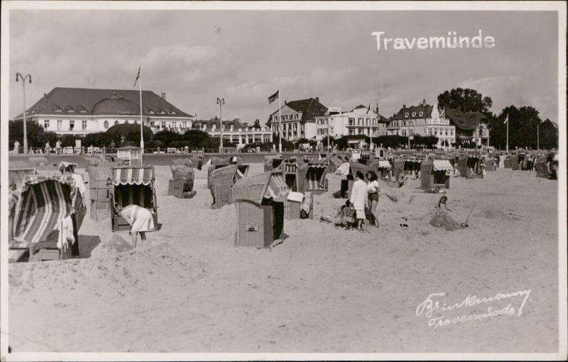 Travemunde Germany tourists beach seaside AGFA real photo