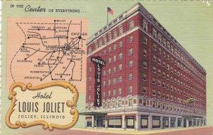 Illinois Joliet Hotel Louis Joliet With Map Curteich sk1072