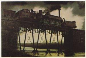 Stockton & Railway Engine 23 Wilberforce Train on Bridge Painting Postcard