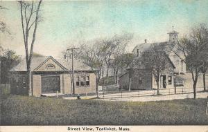 Teaticket MA Cape Cod Street View 1932 Postcard