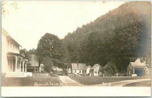 PLYMOUTH UNION, Vermont RPPC Photo Postcard Residential Street Scene / Houses