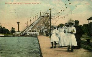 Amusement Shooting the Chutes Crescent Park Rhode Island 1911 Postcard 1961