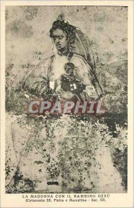 Old Postcard Madonna con Bambino Gesu (Catacomb SS Peter and Marcelino Sec III)