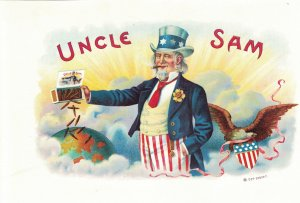 HI1065 RARE   CIGARBOX LABEL UNCLE SAM DUMPING CIGARS  GLOBE
