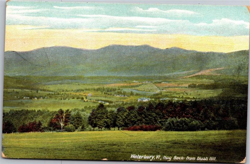 Waterbury Vermont, Hog Back from Blush Hill Valley c1910 Vintage Postcard K06
