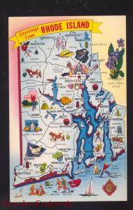 STATE OF RHODE ISLAND MAP VINTAGE POSTCARD