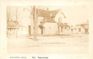 Shepherd Michigan~Methodist Episcopal Church Parsonage~Houses Bknd~c1920 RPPC