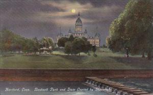 Connecticut Hartford Bushnell Park And State Capitol By Moonlight