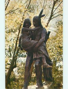 Unused Pre-1980 NATIVE INDIAN STATUE & PARK SCENE Minneapolis MN r8669-22