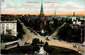 Vtg 1910s Thomas Circle Trolley Horse & Carriages Statue Washington DC Postcard