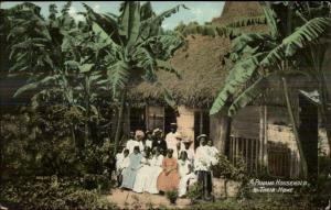 Panama - Native Household Thatch Home & Family c1910 Postcard