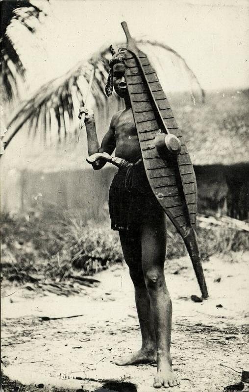 indonesia, NIAS, Native Warrior, Spear Shield Balato Sword (1920s
